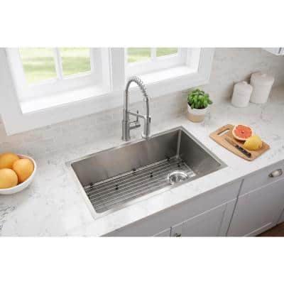 Tight Radius Stainless Steel 31 in. 18-Gauge Single Bowl Undermount Kitchen Sink with Spring Neck Faucet
