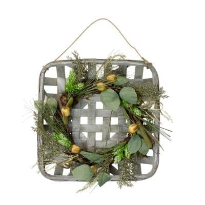 16 Autumn Harvest Green Hop and Cattail Grapevine Wreath in a Wooden Tray Hanger