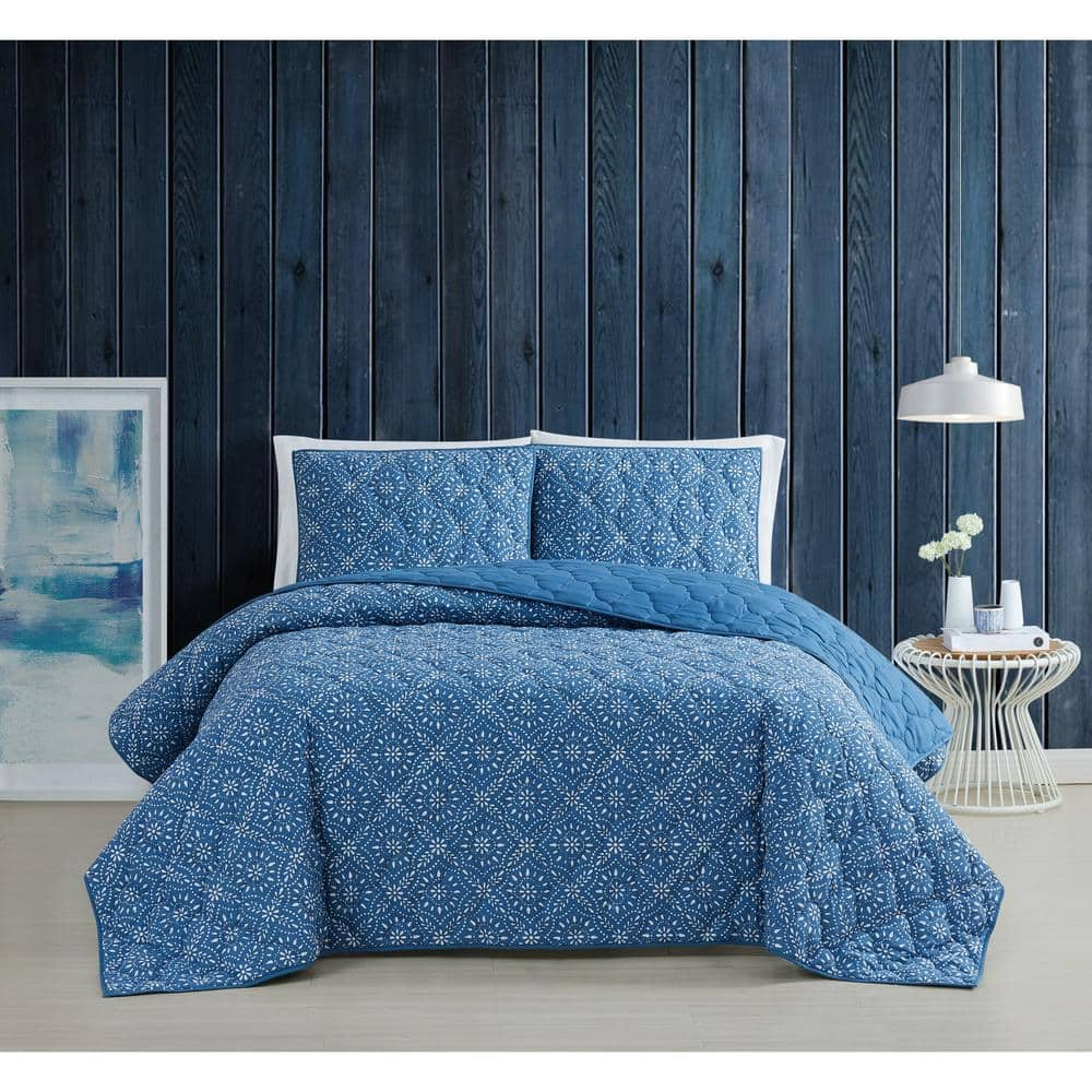 Brooklyn Loom Katrine 2 Piece Blue Twin Xl Cotton Quilt Set Qs3585txl 2600 The Home Depot