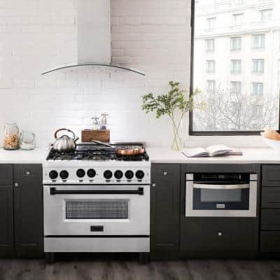 36 in. 4.6 cu. ft. Gas Range with Convection Gas Oven in Stainless Steel with Matte Black Accents