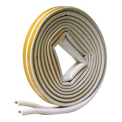 5/16 in. x 1/4 in. x 17 ft. White D-Center EPDM Medium Gap Weatherseal Tape