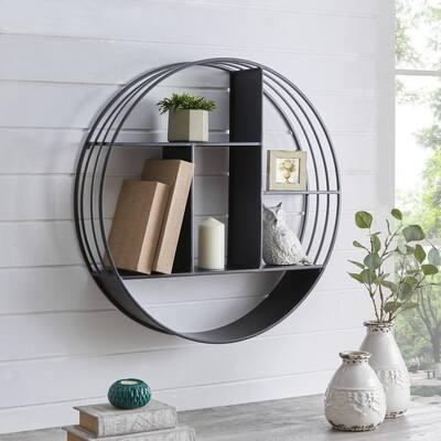 27.5 x 6 x 27.5 in. Round Metal Black Brody Industrial Circular Shelf