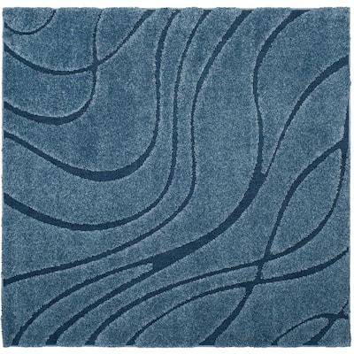 Florida Shag Light Blue/Blue 7 ft. x 7 ft. Square Solid Area Rug