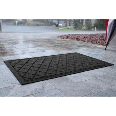 Aqua Shield Argyle Charcoal 23 in. x 35 in. Recycled Polyester/Rubber Indoor Outdoor Door Mat