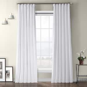 Pillow White Velvet Rod Pocket Room Darkening Curtain - 50 in. W x 84 in. L