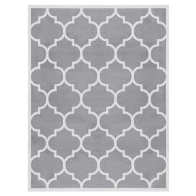 Contemporary Moroccan Gray 8 ft. x 10 ft. Abstract Area Rug
