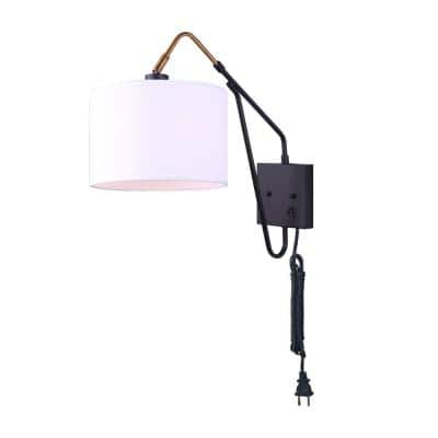 Winston 1-Light Gold and Matte Black Swing Arm Light