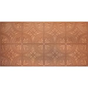 Dimensions 2 ft. x 4 ft. Glue Up Tin Ceiling Tile in Metallic Copper