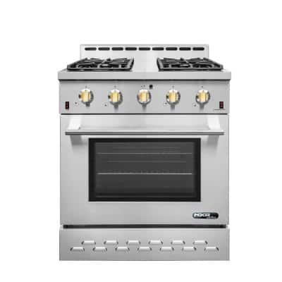 Entree 30 in. 4.5 cu. ft. Professional Style Gas Range with Convection Oven in Stainless Steel and Gold