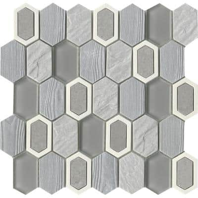 Literati Poe 12.0 in. x 12.0 in. x 8mm Cast Stone Mesh-Mounted Mosaic Tile (1.0 sq. ft.)