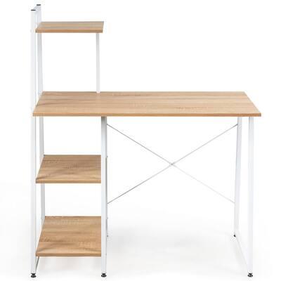 38.5 in. Brown Computer Desk Study Writing Desk Workstation with Bookshelf