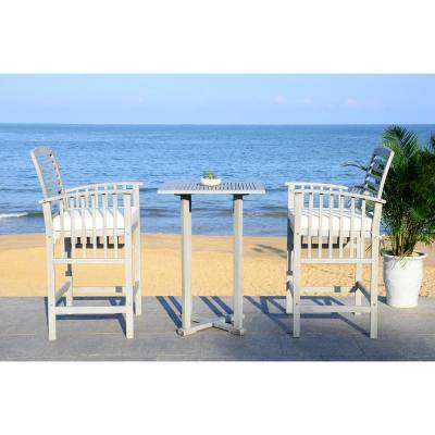 Pate Grey Wash 3-Piece Wood Outdoor Bistro Set with White Cushions