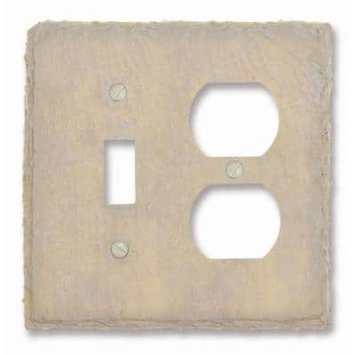 Faux Slate 2 Gang 1-Toggle and 1-Duplex Resin Wall Plate - Almond