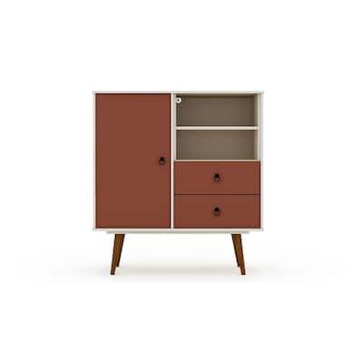 2-Drawer Off White and Terra Orange Pink Montauk Mid-Century Modern Dresser
