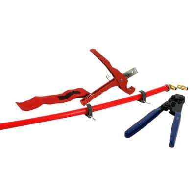 PEX Plumbing Kit - Crimper, Cutter Tool with Lock Hook, 3/4 in. Elbow Cinch & Half Clamp