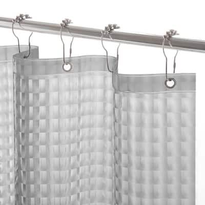 PEVA 72 in. Smoke Medium Weight Embossed Shower Curtain Liner