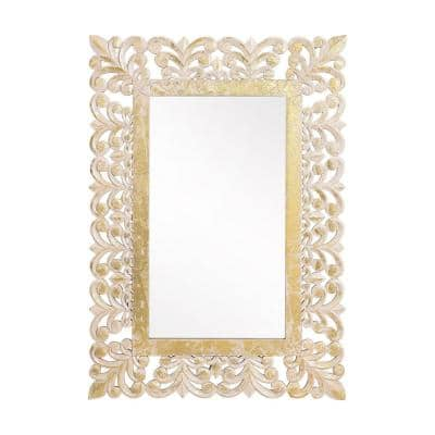 Pittari 40 in. x 28 in. Classic Rectangle Framed Natural and White Accent Mirror