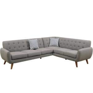 2-Piece Gray Linen-Like Fabric 6-Seater L-Shaped Sectional Sofa with Tapered Wood Legs