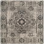 Evoke Ivory/Black 7 ft. x 7 ft. Square Area Rug