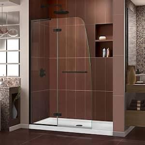 Aqua Ultra 45 in. W x 72 in. H Frameless Hinged Shower Door in Satin Black
