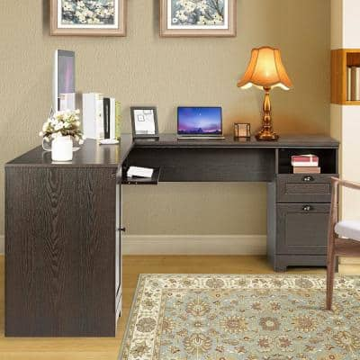 21 in. L-Shaped Brown Corner Computer Desk Writing Table