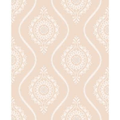 8 in. x 10 in. Beaumont Coral Ogee Wallpaper Sample