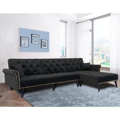 115 in. Black Velvet 3 Seats Full Size Convertible Sleeper Sofa Bed with Metal Nails