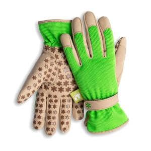 Women's Large Nail and Fingertip Protector Gardening Gloves in Green and Tan