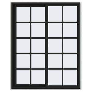 48 in. x 60 in. V-4500 Series Bronze FiniShield Vinyl Left-Handed Sliding Window with Colonial Grids/Grilles