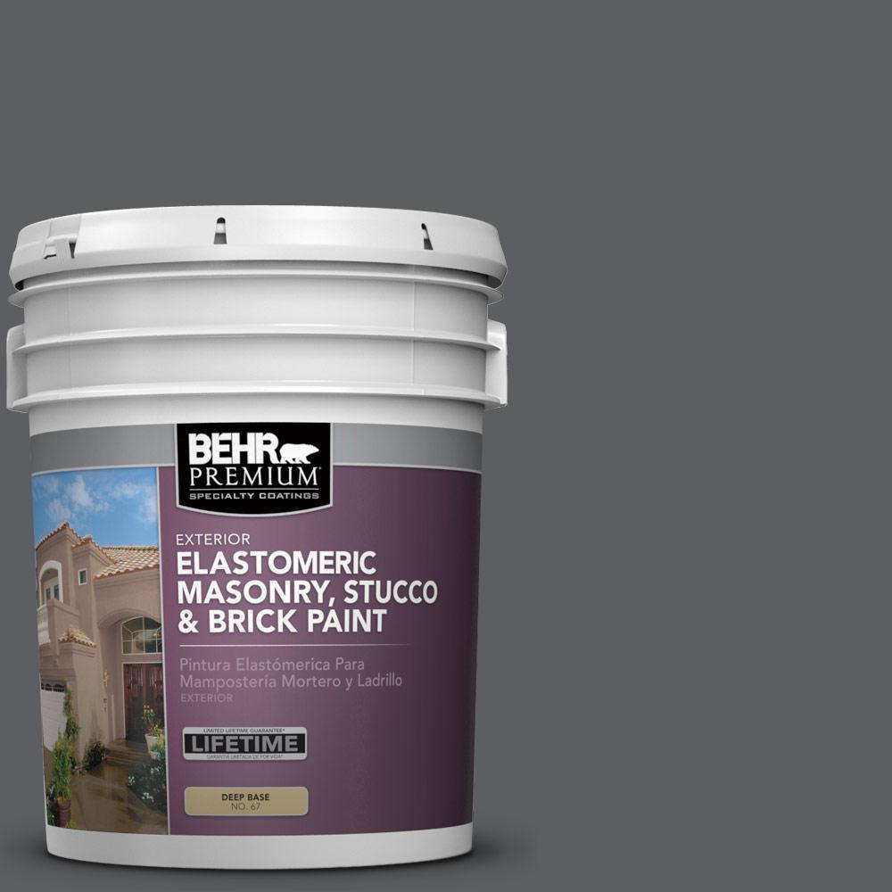 5 gal. #N500-6 Graphic Charcoal Elastomeric Masonry, Stucco and Brick Exterior Paint