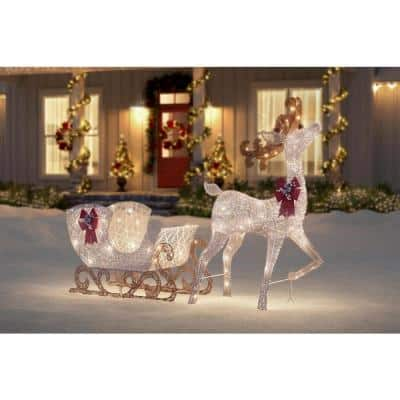 5 ft Polar Wishes Motion LED 280-Light Reindeer with Sleigh Yard Sculpture