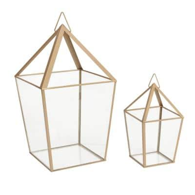 15.7 in. Metal and Glass Outdoor Patio Terrarium