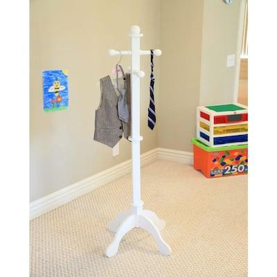 4-Hook Kid's Coat Rack in White