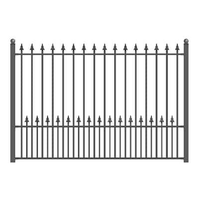 Munich Style 5 ft. x 8 ft. Black Iron Fence Panel