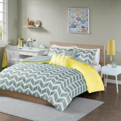 Laila 4-Piece Yellow Twin Comforter Set