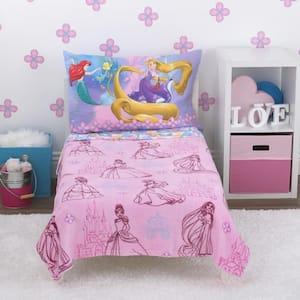 Princess Friendship is a Journey 4-Piece Toddler Bed Set Fleece Blanket, Fitted Bottom Sheet, Flat Top Sheet, Pillowcase