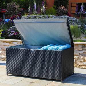 140 Gal. Black Wicker Outdoor Storage Deck Box