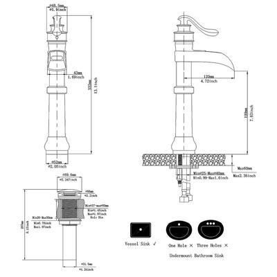 Waterfall Single Hole Single-Handle Vessel Bathroom Faucet With Pop-up Drain in Matte Black