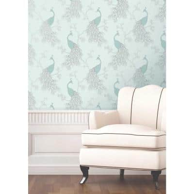 Phasia Seafoam Peacock Paper Peelable Roll (Covers 56.4 sq. ft.)