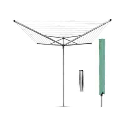 116 in. x 116 in. Topspinner Outdoor Clothesline Plus Ground Spike Plus Cover in Metallic Gray