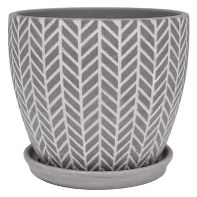 8 in. Soho Grey Ceramic Planter