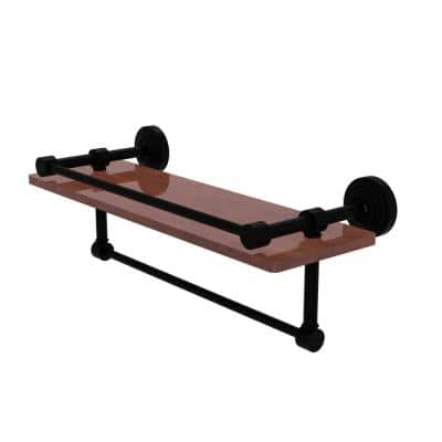 Waverly Place Collection 16 in. IPE Ironwood Shelf with Gallery Rail and Towel Bar in Matte Black