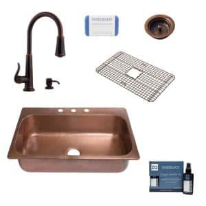 Angelico Drop-In Copper All-in-One 33 in. 3-Hole Single Bowl Kitchen Sink with Pfister Faucet and Strainer in Bronze
