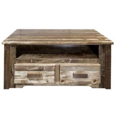 Homestead 41 in. Brown Large Rectangle Wood Coffee Table with 2-Drawers