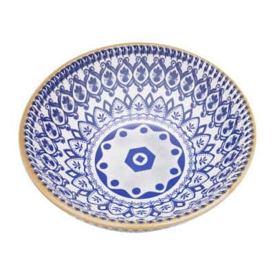 Full Bowl 20.29 oz. Blue and Yellow Earthenware Soup Bowls (Set of 6)