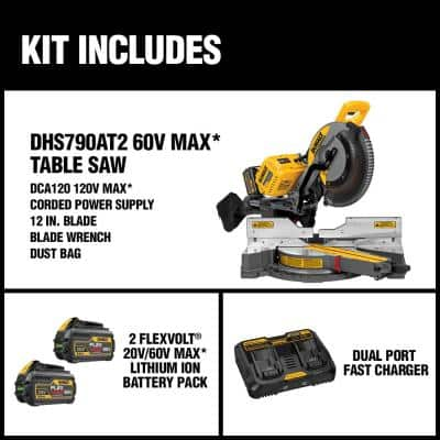 FLEXVOLT 120-Volt MAX Cordless Brushless 12 in. Miter Saw with AC Adapter with (2) FLEXVOLT 6.0Ah Batteries