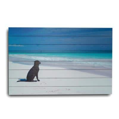 Dog on Beach Planked Animal Art Print 24 in. x 36 in.
