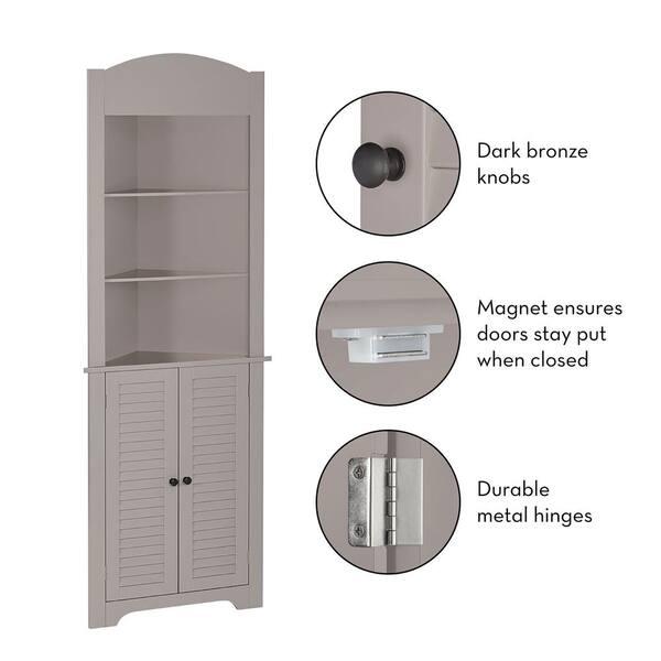 RiverRidge Home - Ellsworth 23-1/4 in. W x 11-1/2 in. D x 68-31/100 in. H Corner Bathroom Linen Storage Tower Cabinet in Taupe