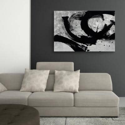 Onyx Gesture II Abstract Unframed Reverse Printed on Tempered Glass with Silver Leaf Wall Art 32 in. x 48 in.
