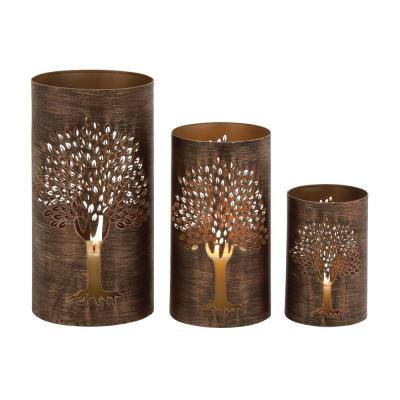 Brown Metal Eclectic Candle Lantern (Set of 3)